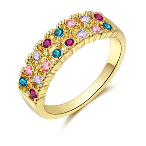 Double Row Mixed Diamond Ring - Yellow