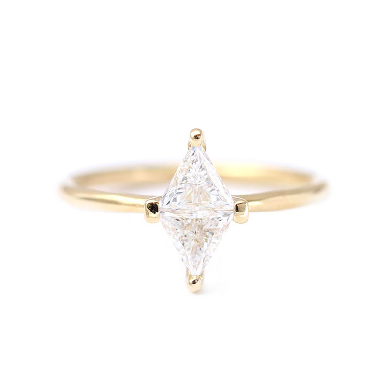Rhombus Diamond 18K Solitaire Ring