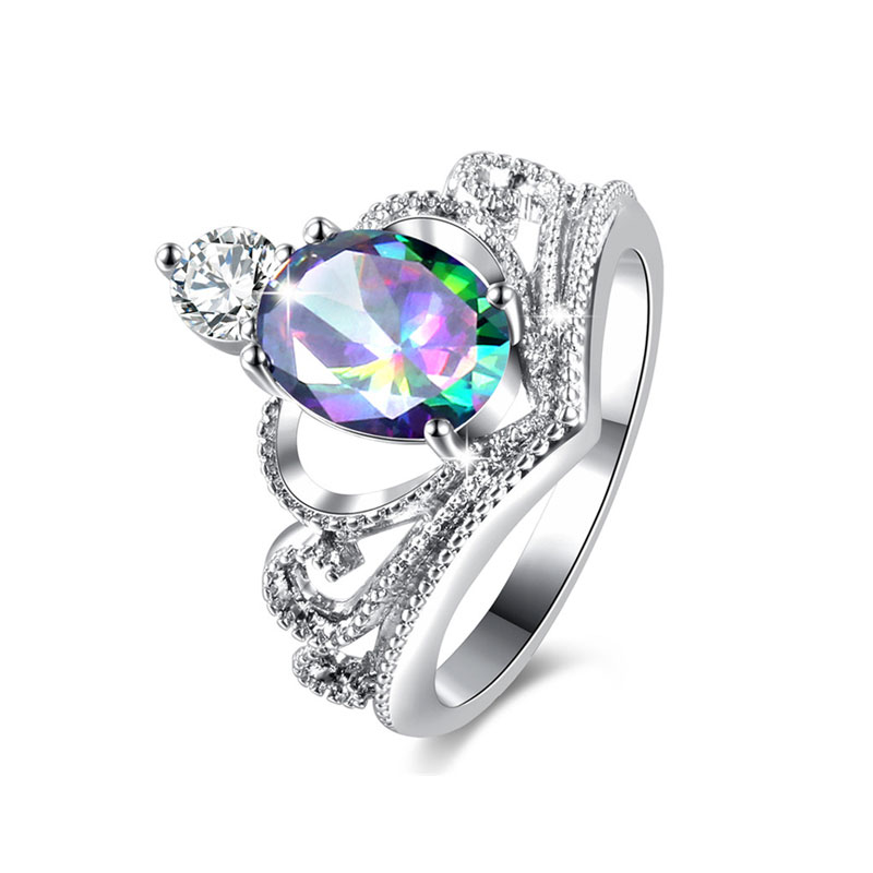 Multi-Colour Oval Diamond Crown Ring