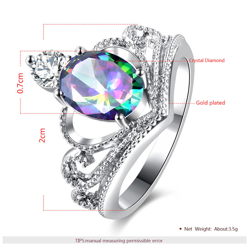 Multi-Colour Oval Diamond Crown White Gold Ring