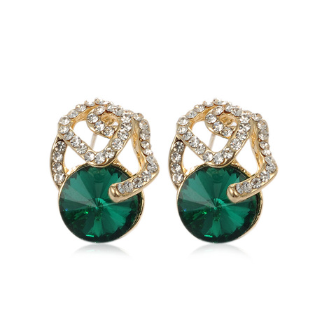 Stereoscopic Flower Emerald Stud Earrings