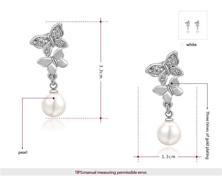 Double Butterfly Pearl Dorp White Gold Earrings