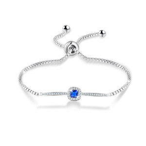 Pricncess Sapphire Adjustable White Gold Bracelet