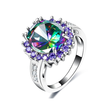 Colorful Diamond & Purple Halo Ring