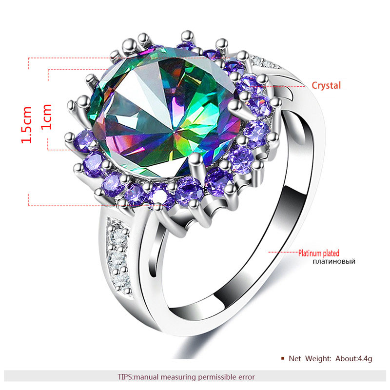 Colorful Diamond & Purple Halo White Gold Ring