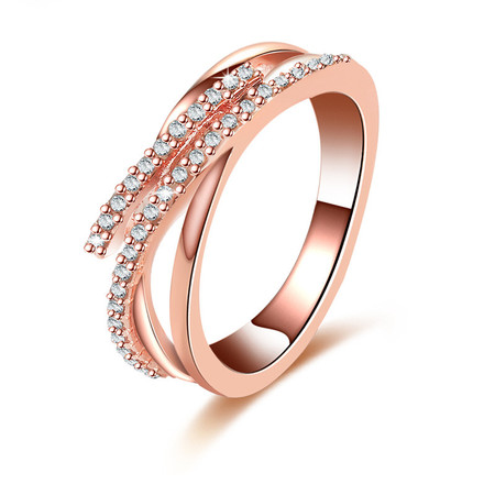 Trailing Cross Superposition Rose Gold Ring
