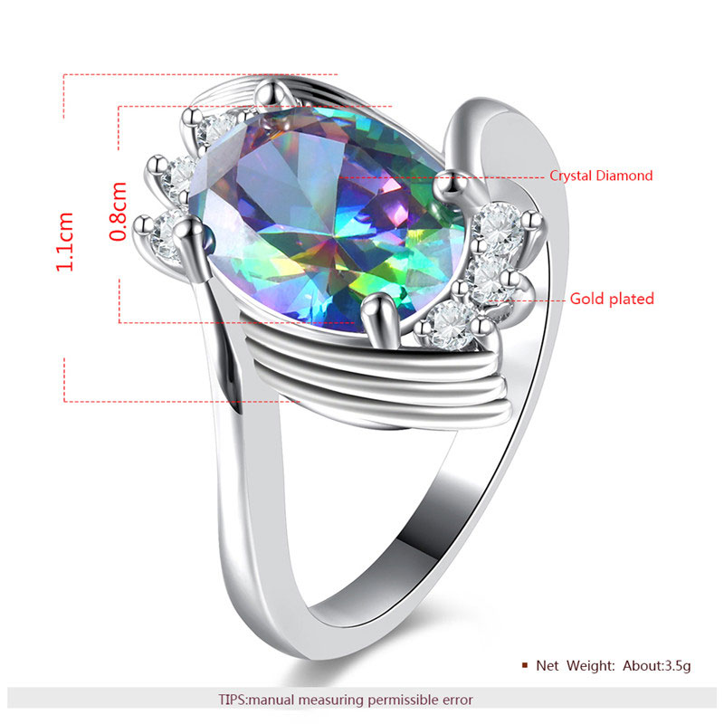 Multi-Colour Tweak Oval Diamond White Gold Ring