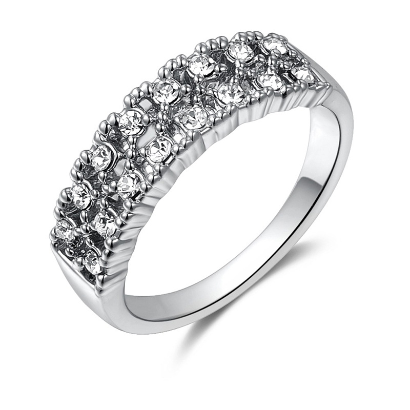 Double Row Diamond Ring - White