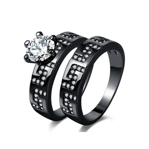Great Wall Gun Black Diamond Ring Set