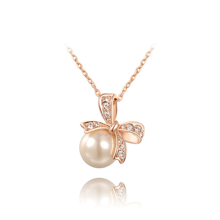 Lively Bowknot Pearl Pendant Necklace - Rose Gold
