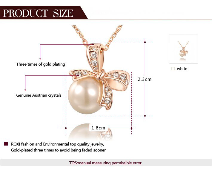 Lively Bowknot Pearl Pendant Necklace