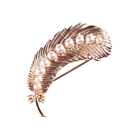 Pearl Feather Brooch