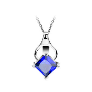 Princess Sapphire Inversion Heart Necklace