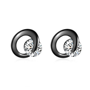 Crescent Gun Black Stud Earrings - White