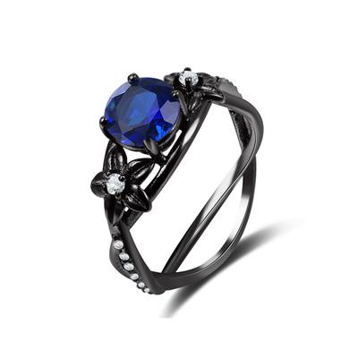Vintage Round Sapphire Black Ring