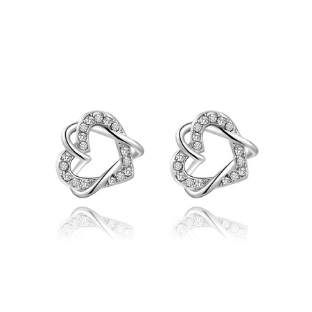 Double Heart Winding Earrings - White