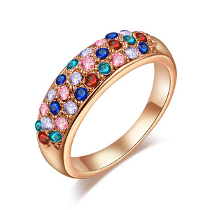 Three Rows Mixed Diamond Ring - Rose