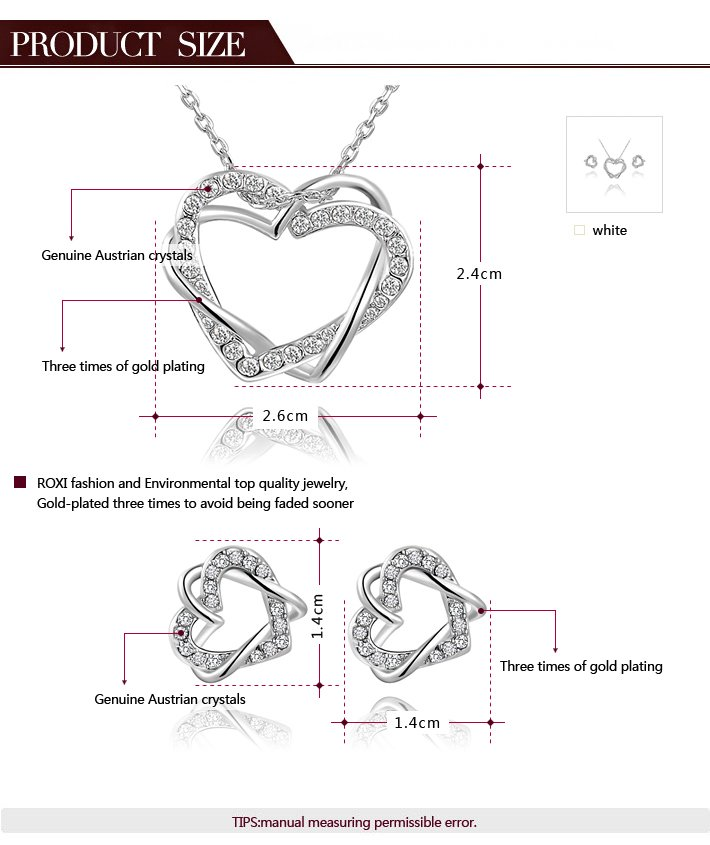 Double Heart Entwine White Gold Set
