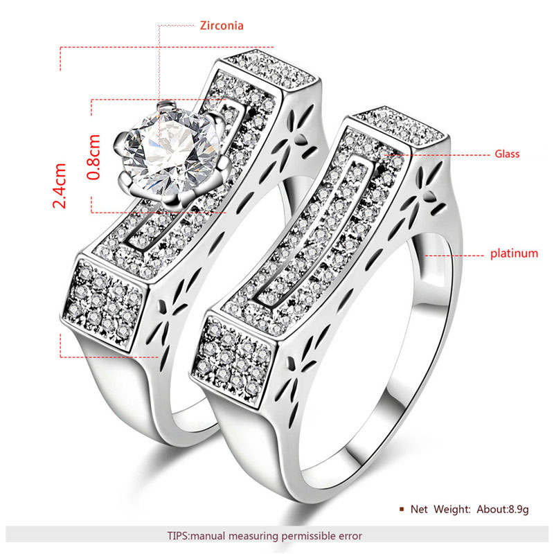 Inverted Arch Bridge White Gold Diamond Couple Rings