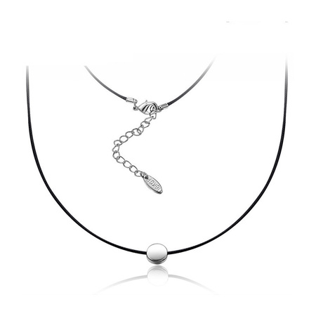 White Gold Round Pendant Leather Necklace