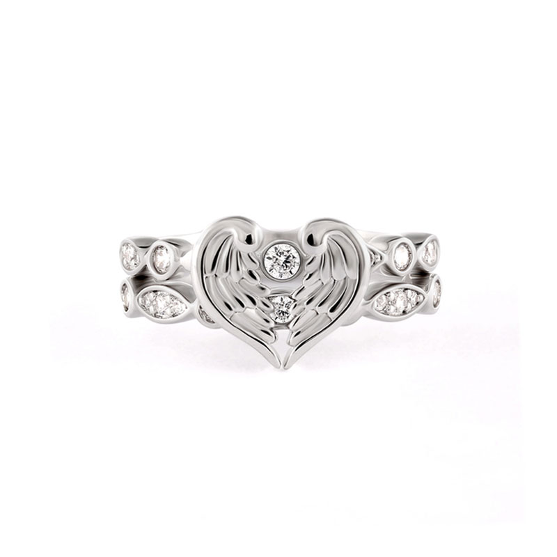 Angel's Wings Fit In Heart Couple Ring