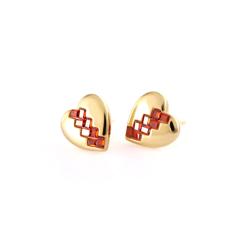 Broken Heart Ruby 18K Gold Stud Earrings