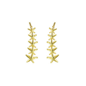 One Row Starfish 18K Gold Stud Earrings