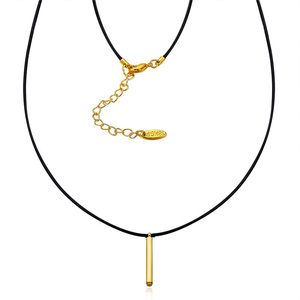 18K Gold Bar Pendant Leather Necklace