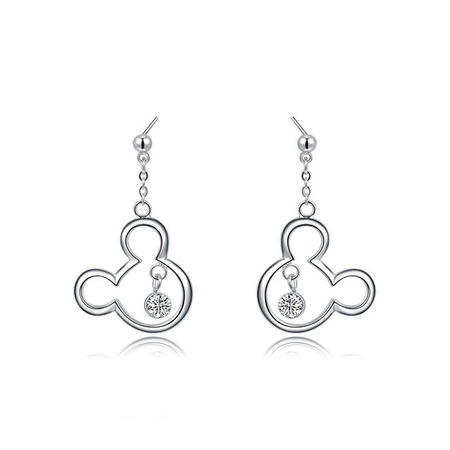 Mickey White Gold Drop Earrings
