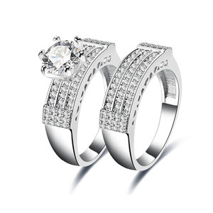Three Channel Diamond Couple Rings