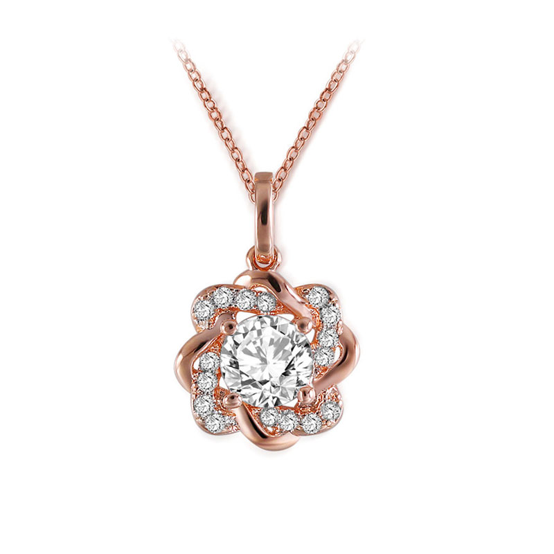 Twine Flower Round Diamond Necklace