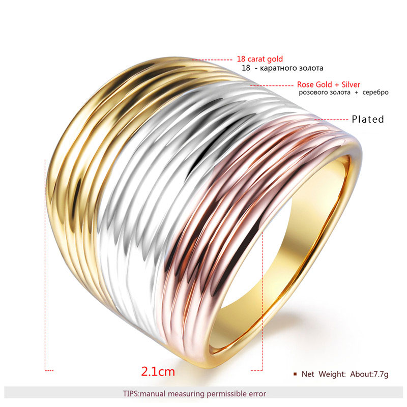 There-Color Multicostae Men's Ring