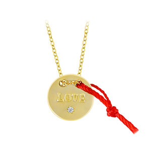Love Chars With Red Cord 18K Gold Necklace