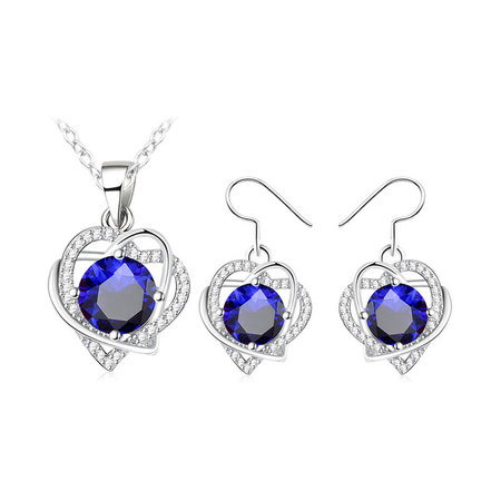 Double Heart Winding Round Sapphire Set