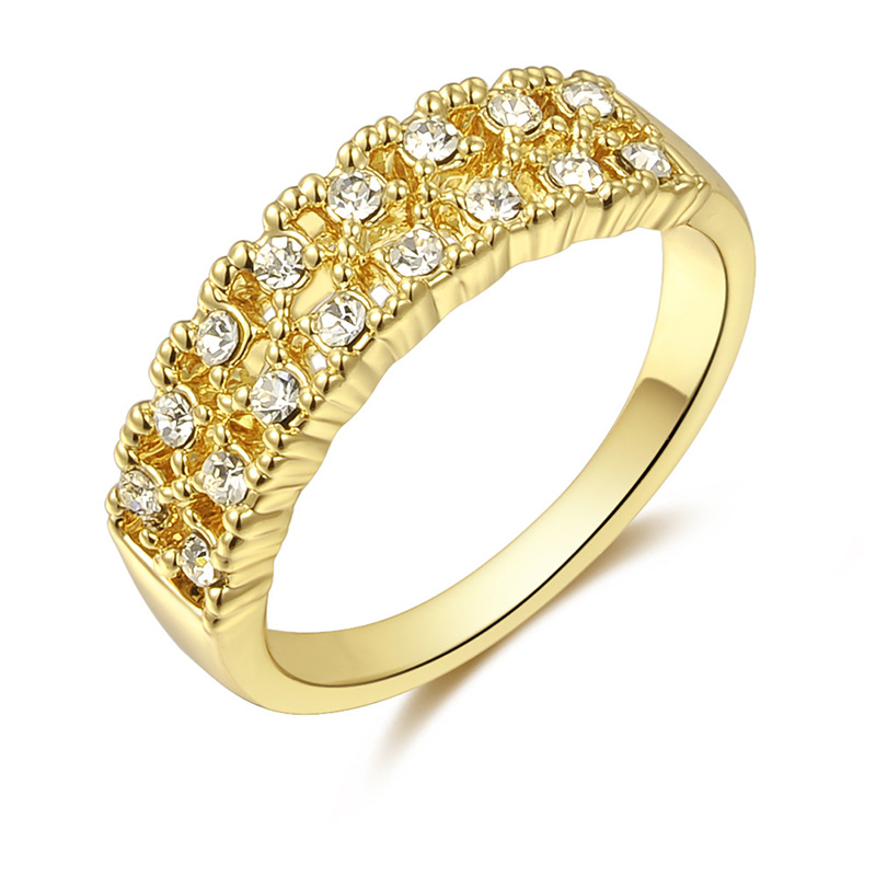 Double Row Diamond Ring - Yellow