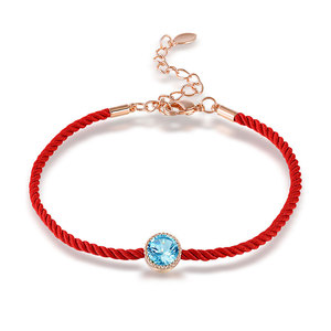 Sapphire Rose Gold Red Cord Bracelet