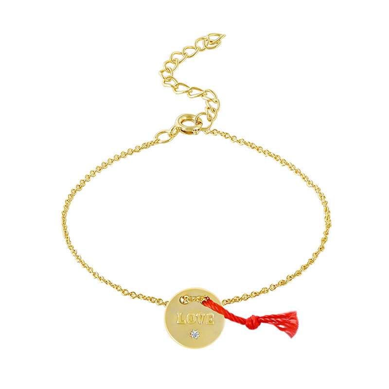 Love Chars With Red Cord 18K Gold Bracelet