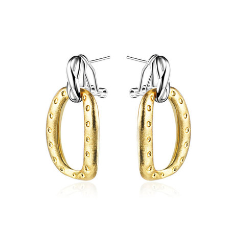 0 & 8 Two-Tone Drop Earrings
