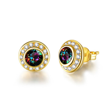 Colorful Diamond With Halo Stud Earrings