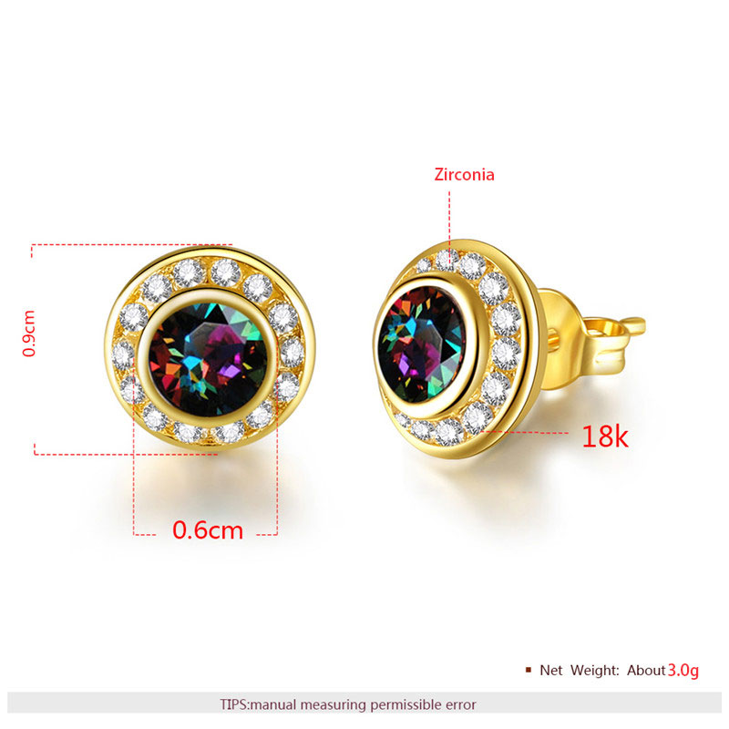 Colorful Diamond With Halo Stud Yellow Gold Earrings