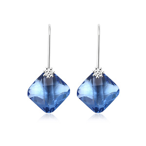 Rhombus Sapphire Drop Earrings