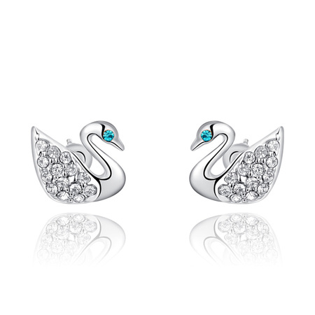 Swan White Gold Stud Earrings