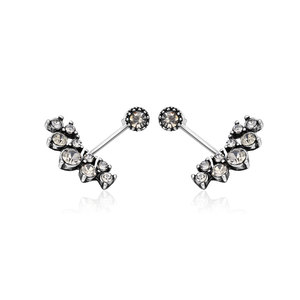 Paw Silver Oxide Stud Earrings