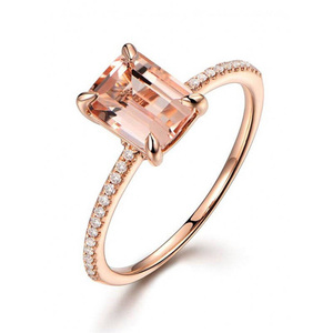 Rose Gold Square Block Zirconia Ring