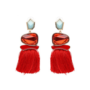 Ethical Style Red Tassel Earrings - Ruby