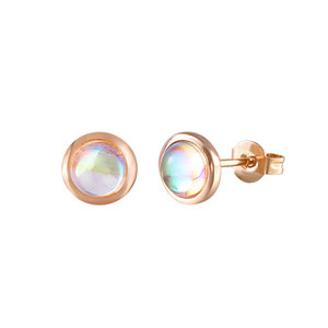 Concise Solitaire Moonstone Stud Earrings