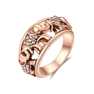 Men Elephant Rose Gold Ring