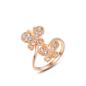 Double Butterfly Rose Gold Ring
