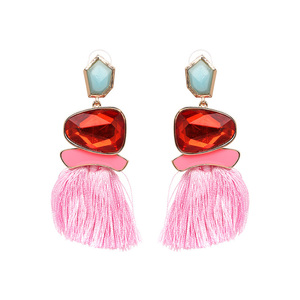 Ethical Style Pink Tassel Earrings - Ruby