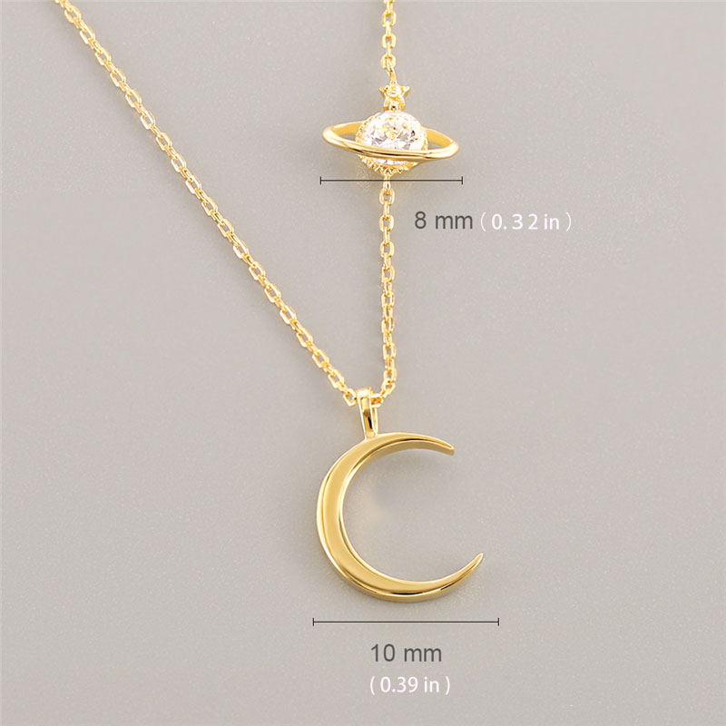 Star Crescent 925 Sterling Silver Pendant Necklace